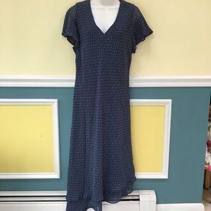 Donna Ricco Blue V Neck Dress
